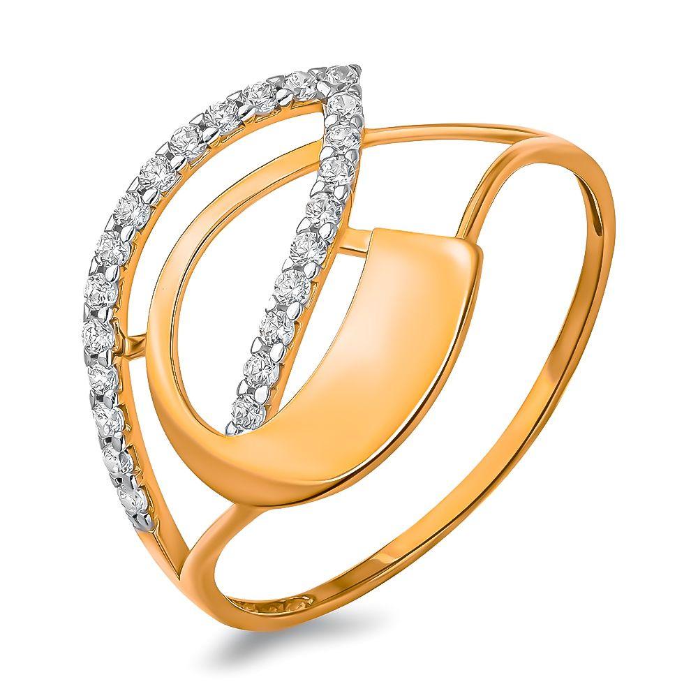 Кольцо с фианитами из красного золота 375 пробы, размер 19.5